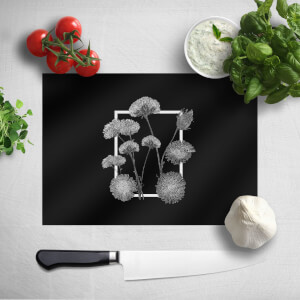 Pressed Flowers Monochrom Framed Sketched Flowers Chopping Board