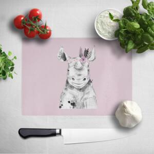 Pressed Flowers Indie Rhino Chopping Board