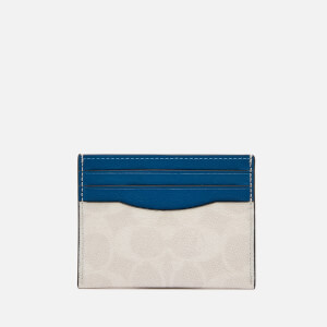 Coach Men's Flat Colourblocked Card Case - Chalk/Pacific