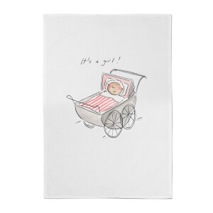 It's A Girl Cotton Tea Towel - White
