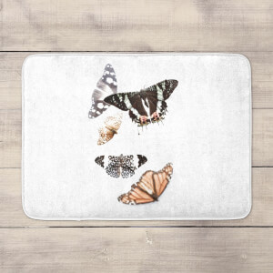 Isolated Butterflies Bath Mat
