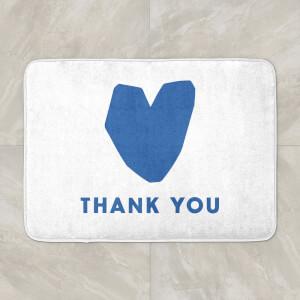 Blue Heart Thank You Bath Mat