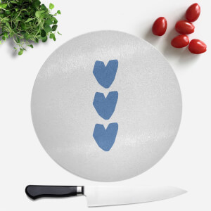 Three Blue Hearts Round Chopping Board