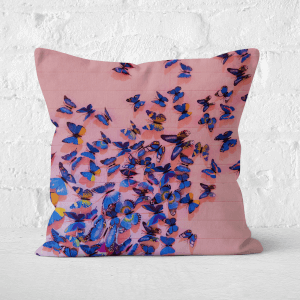 Girly Butterfly Crowd Square Cushion