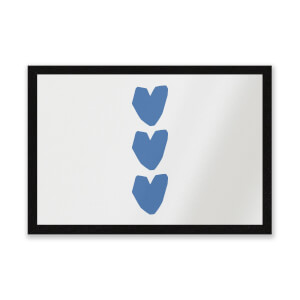 Three Blue Hearts Entrance Mat