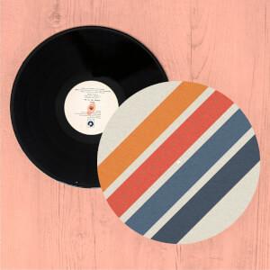 Blue Orange Retro Stripes Slip Mat