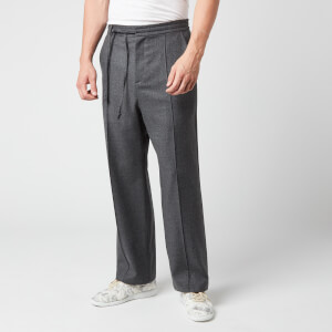 Maison Margiela Men's Wool Flannel Trousers - Grey Melange
