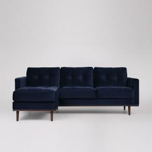Swoon Berlin Velvet Corner Sofa - Left Hand Side