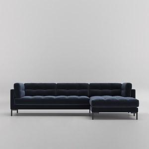 Swoon Landau Velvet Corner Sofa - Right Hand Side