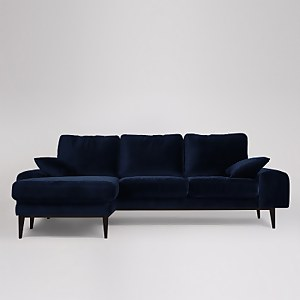 Swoon Tulum Velvet Corner Sofa - Left Hand Side
