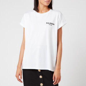 Balmain Women's Short Sleeve Flocked Logo Detail T-Shirt - White