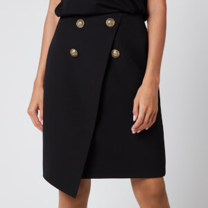 Balmain Women's Asymmetric 4 Button Knee Length Skirt - Black