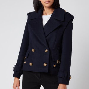Balmain Women's 4 Button Wool Coat - Blue