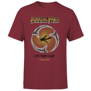 Camiseta Jurassic Park Life Finds A Way Tour - Hombre - Granate