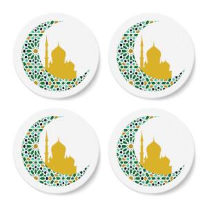 Eid Mubarak Pattern Moon Coaster Set