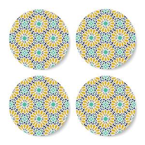 Eid Mubarak Flower Print Coaster Set