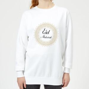 Eid Mubarak Golden Mandala Women's Sweatshirt - White