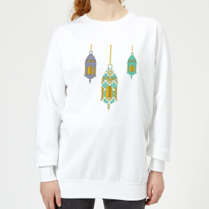 Eid Mubarak Lamps Women's Sweatshirt - White