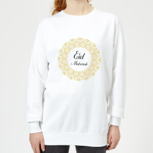 Eid Mubarak Golden Wreath Women's Sweatshirt - White