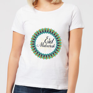 Eid Mubarak Peacock Coloured Wreath Women's T-Shirt - White