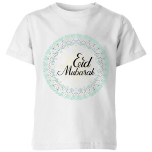 Eid Mubarak Light Tone Mandala Kids' T-Shirt - White
