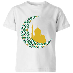 Eid Mubarak Patterned Moon And Golden Skyline Kids' T-Shirt - White