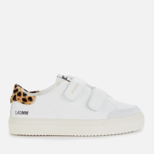 Axel Arigato Kids' Clean 90 Triple Velcro Leather Cupsole Trainers - White/Leopard/Cremino