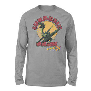 Camiseta manga larga Jurassic Park Winged Threat - Unisex - Gris