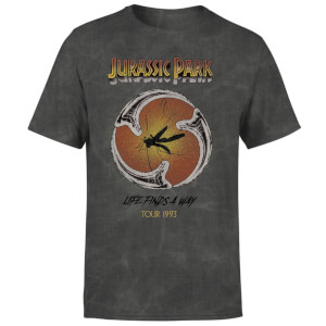 Jurassic Park Life Finds A Way Tour Unisex T-Shirt - Black Acid Wash