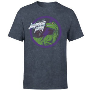 Jurassic Park Raptor Bolt Unisex T-Shirt - Navy Acid Wash