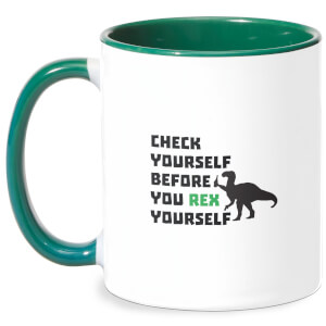 Check Yourself Before You Rex Yourself Mug - White/Green