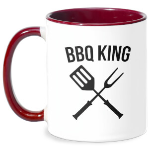 BBQ King Mug - White/Burgundy