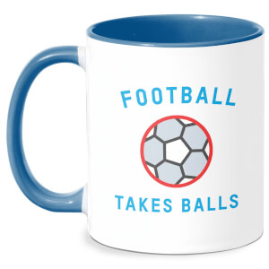 Football Takes Balls Mug - White/Blue