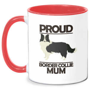 Proud BorderCollie Mum Mug - White/Red