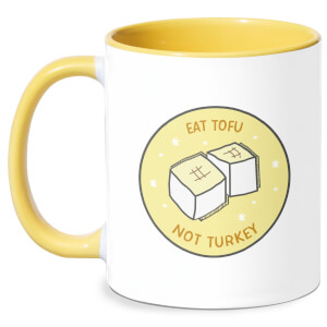 Eat Tofu Not Turkey Mug - White/Yellow