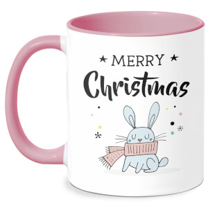 Merry Christmas Rabbit Mug - White/Pink
