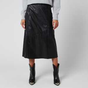 Isabel Marant Women's Domi Faux Leather Mid Skirt - Black