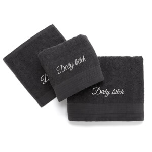 Dirty Bitch Cotton Embroidered Towel Bale - Grey