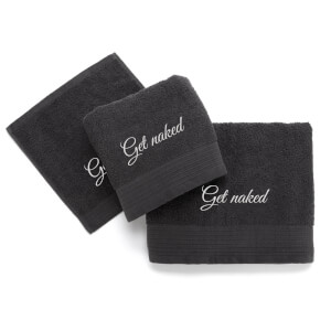 Get Naked Cotton Embroidered Towel Bale - Grey