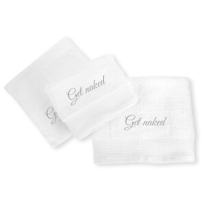 Get Naked Cotton Embroidered Towel Bale - White