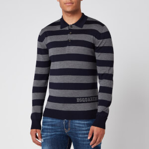 Dsquared2 Men's Stripe Rugby Shirt - Grey/Blue