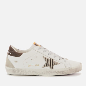 Golden Goose Deluxe Brand Women's Superstar Leather Trainers - White/Black Zebra/Coffee