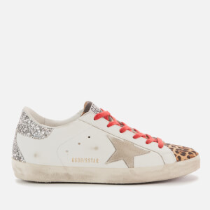 Golden Goose Deluxe Brand Women's Superstar Leather Trainers - White/Brown Leopard/Ice Silver