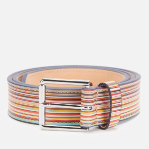 PS Paul Smith Men's Embossed Signature Stripe Leather Belt - Multi