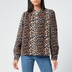 Ganni Women's Print Denim Shirt - Leopard