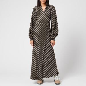 Ganni Women's Viscose Stripe Wrap Dress - Black