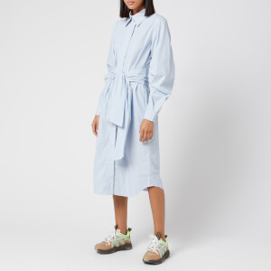 Ganni Women's Stripe Cotton Shirt Dress - Brunnera Blue