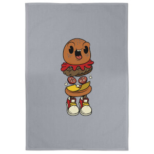 Happy Burger Cotton Grey Tea Towel