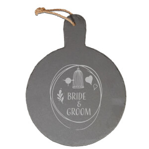 Bride & Groom Engraved Slate Cheese Board