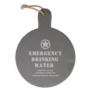 Emergency Drinking Water Engraved Slate Cheese Board